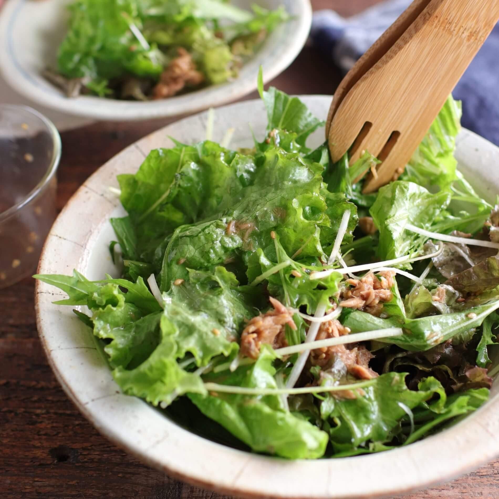 サラダ 水菜 ツナ